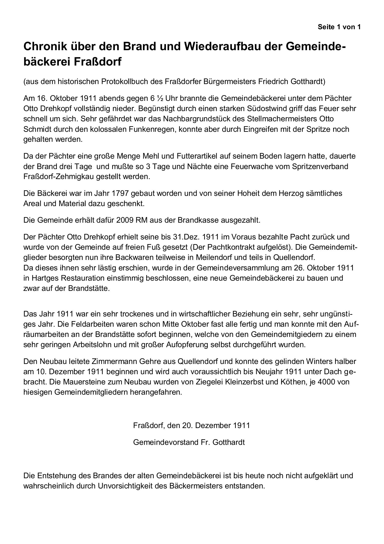 Chronik über den Brand und den Wiederaufbau der Gemeindebäckerei (aus dem historischen Protokollbuch des damaligen Bürgermeisters Friedrich Gotthardt