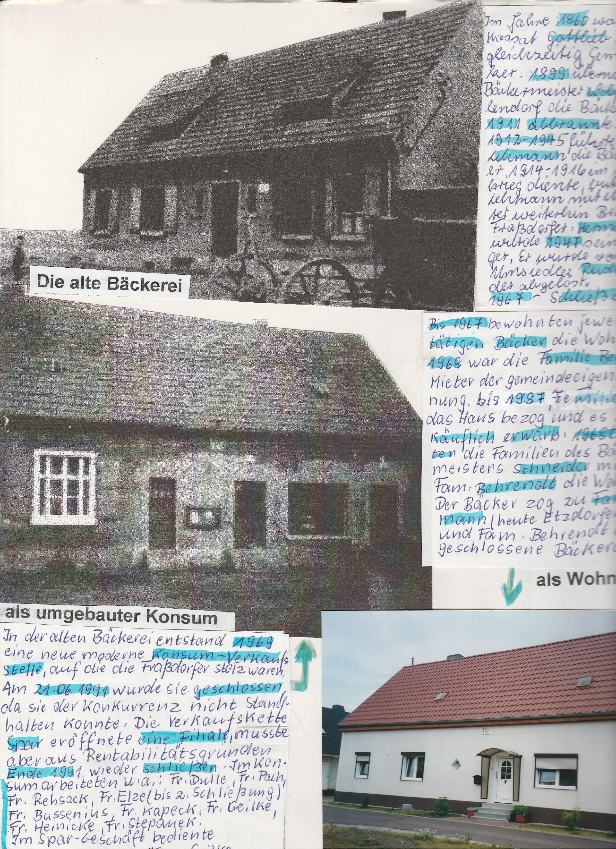Ansichten der Bäckerei in Fraßdorf früher und heute
