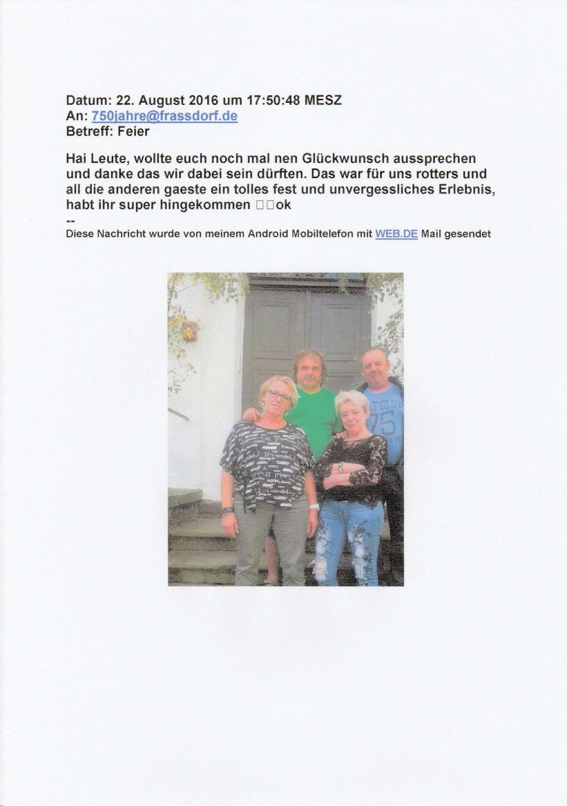 """Familie Rotter sagt per eMail """"Dankeschön"""""""